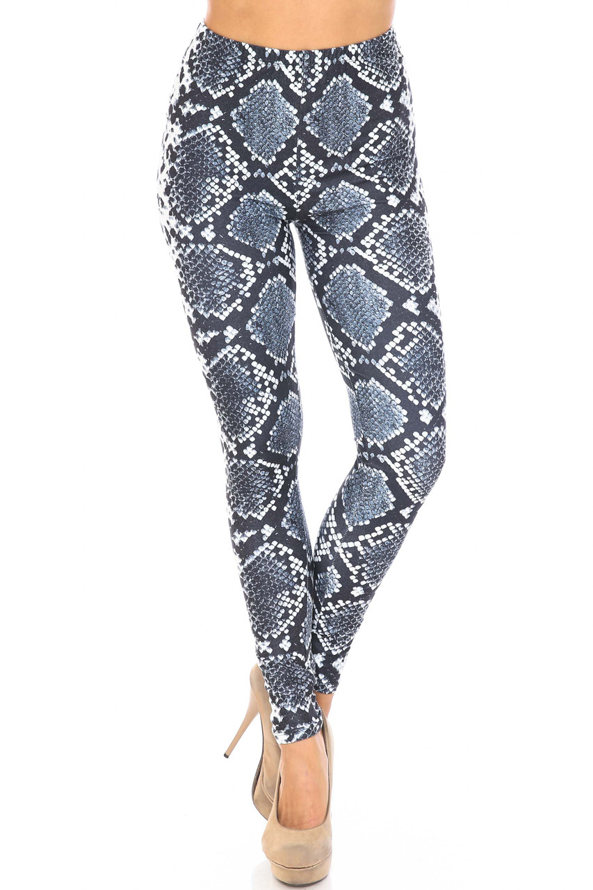 Front side image of Creamy Soft Steel Blue Boa Plus Size Leggings - USA Fashion™