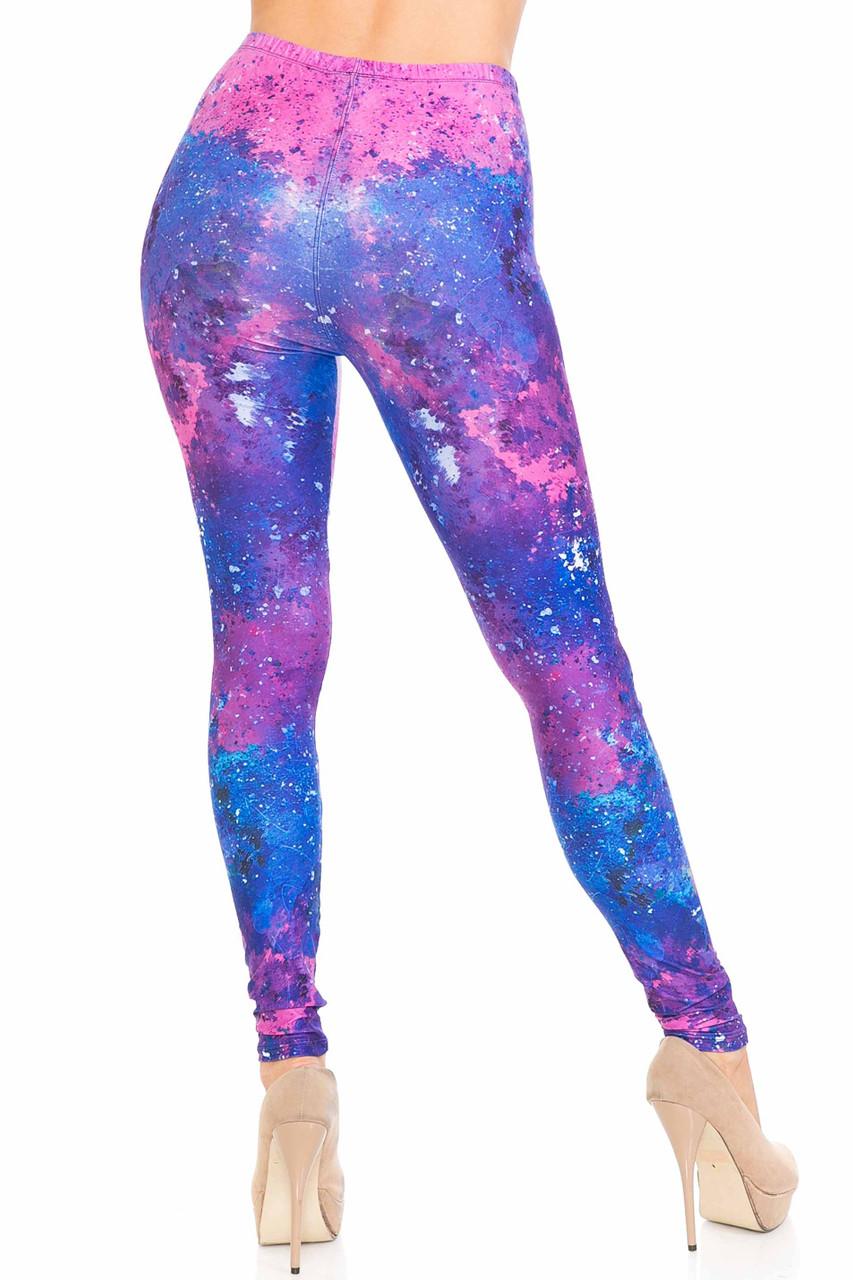 Rear view of Creamy Soft Blue Fuchsia Nebula Plus Size Leggings - USA Fashion™