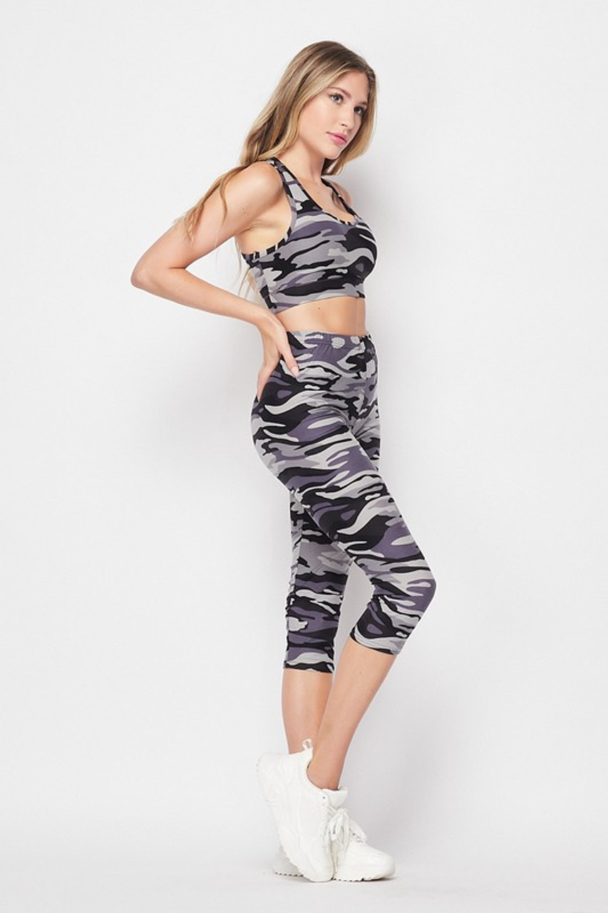 Right side of 2 Piece Charcoal Camouflage Crop Top and Capri Set
