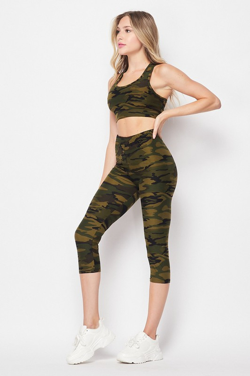 Left side of 2 Piece Green Camouflage Crop Top and Capris Set