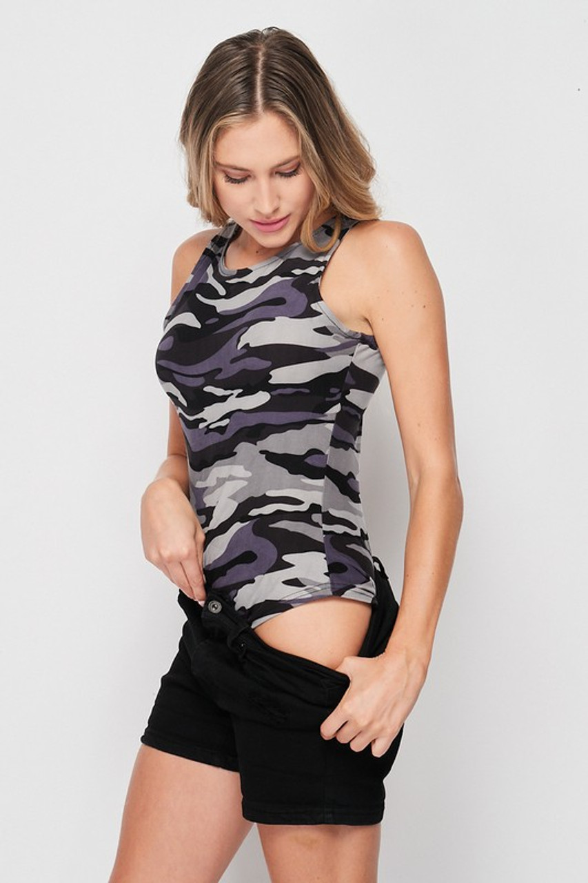 Right side view of Brushed Charcoal Camouflage Mock Neck Bodysuit pictured with shorts pulled down to show off the bottom half of the one piece.