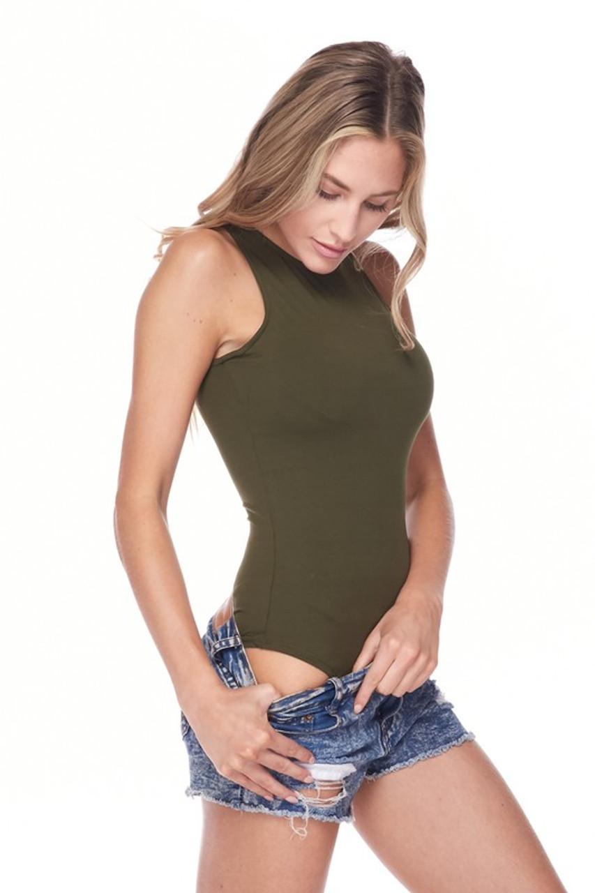 Olive Brushed Solid Basic Mock Neck Bodysuit