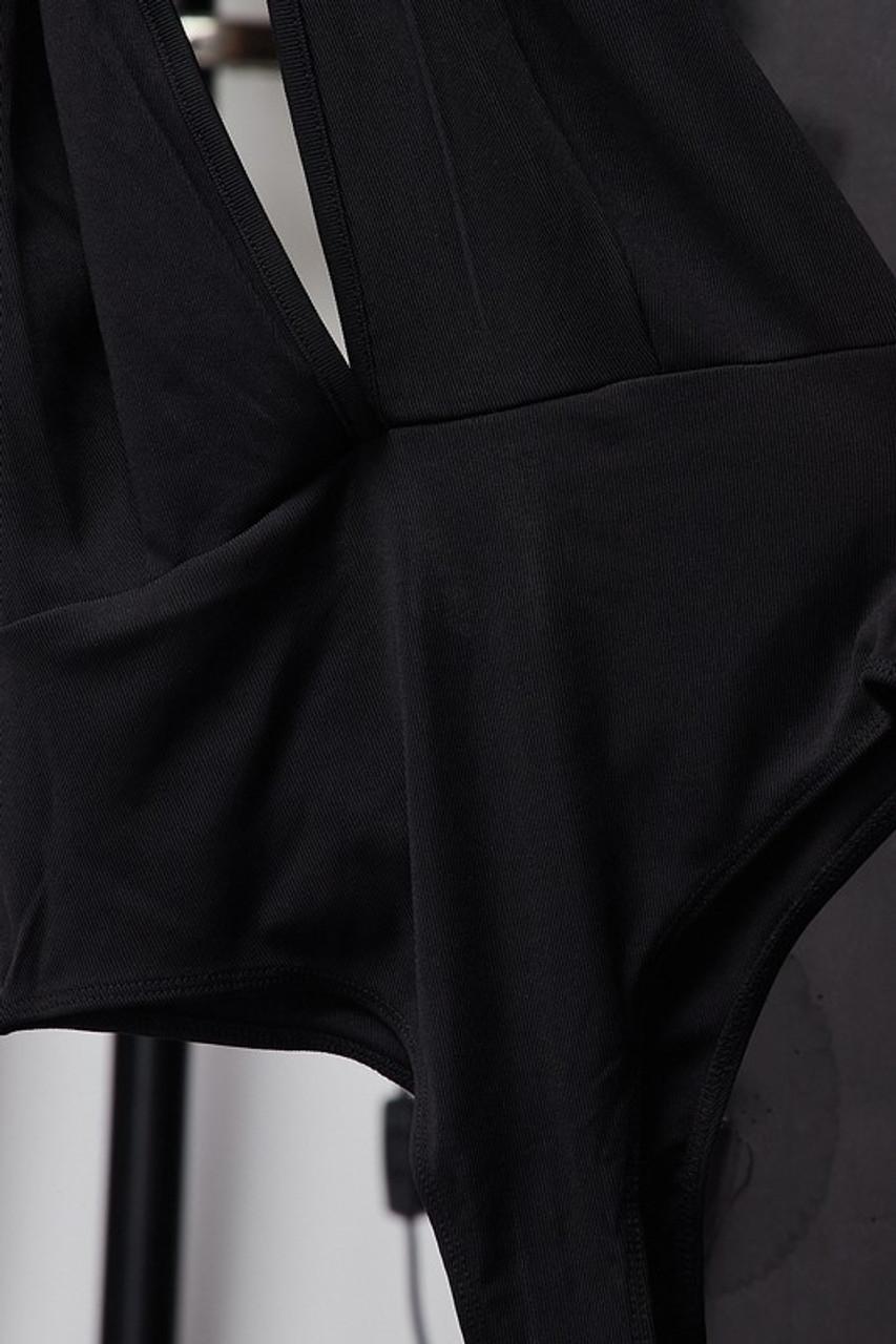 Black Plunging Neckline Halter Bodysuit