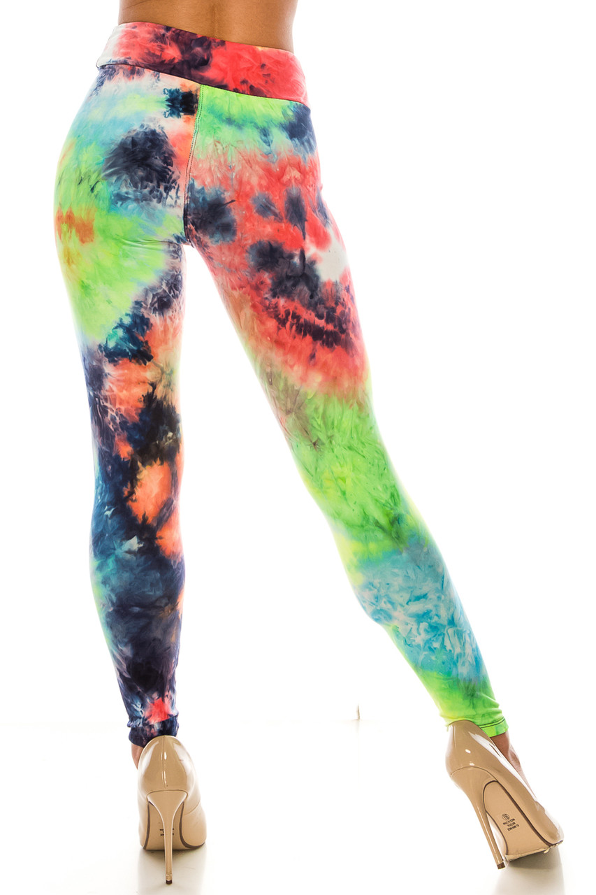 Rear view of Buttery Soft Summer Yellow Tie Dye High Waisted Leggings - Plus Size showing off the fabulous continuation of the rainbow colored design.