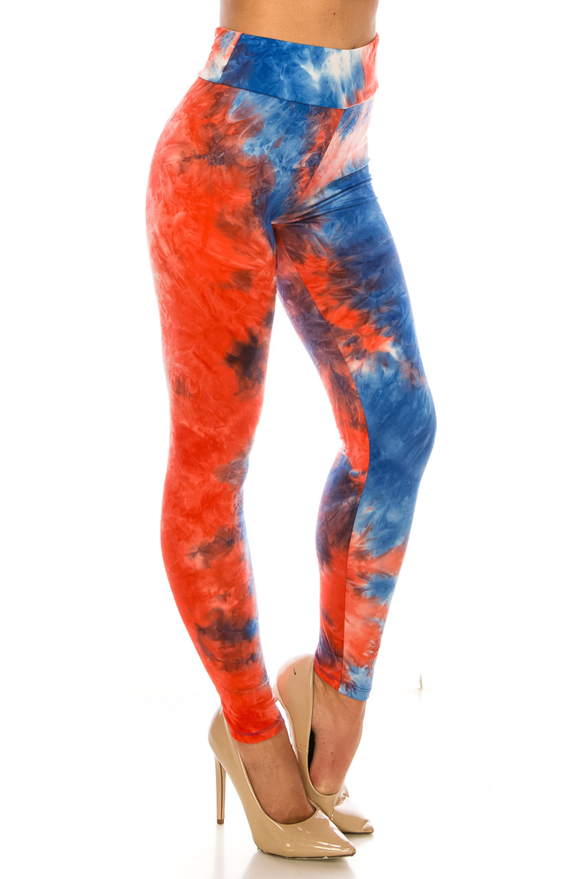 45 degree right side view of Buttery Soft Red and Blue Tie Dye High Waisted Leggings - Plus Size