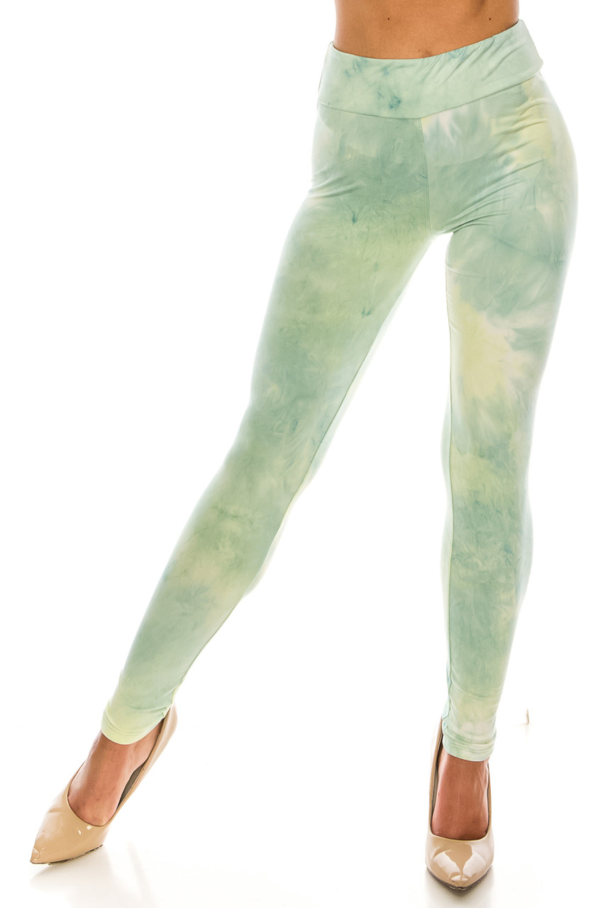 Front view of Buttery Soft Mint Tie Dye High Waisted Leggings with a gorgeous mixed soft green design.
