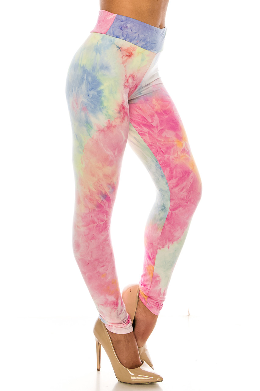 Left side image of Buttery Soft Multi-Color Pastel Tie Dye High Waisted Leggings with a flattering comfort fabric waist.