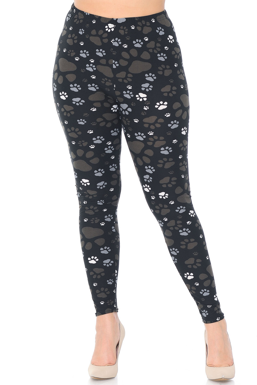 Front of Creamy Soft Muddy Paw Print Plus Size Leggings - USA Fashion™ with a full length hem and a mid rise waist.