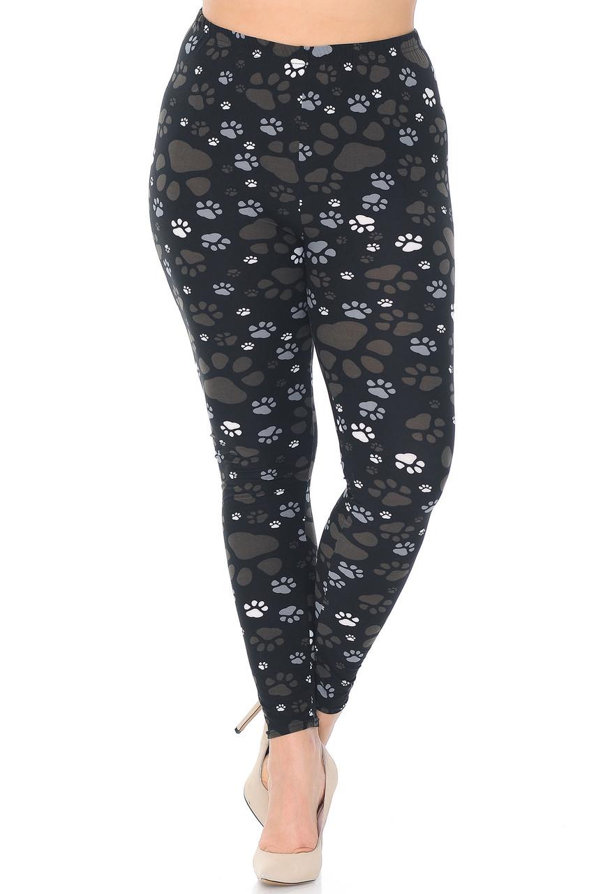 Front of Creamy Soft Muddy Paw Print Plus Size Leggings  - USA Fashion™