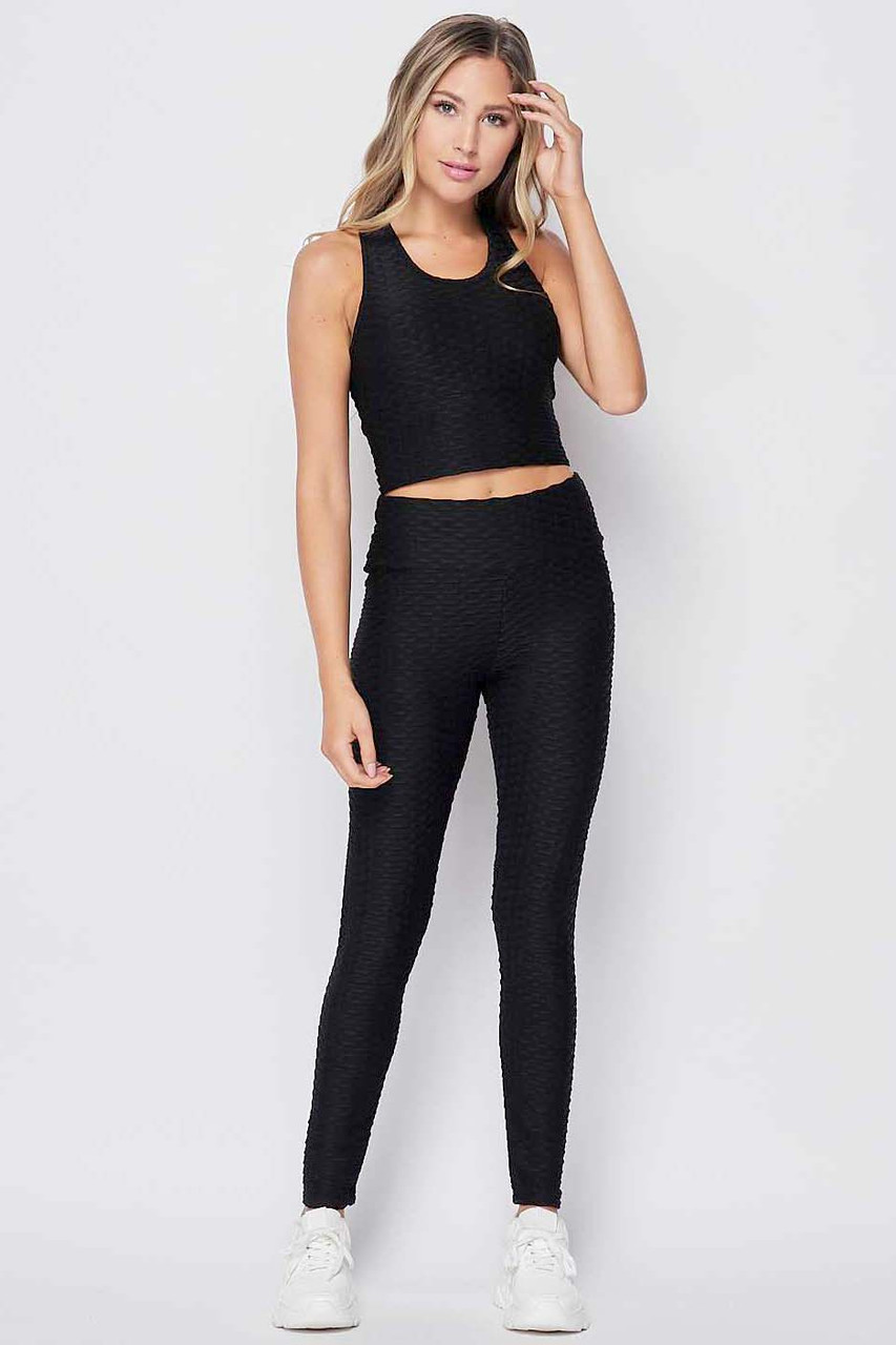 Front view of Black 2 Piece Scrunch Butt Leggings and Crop Top Set