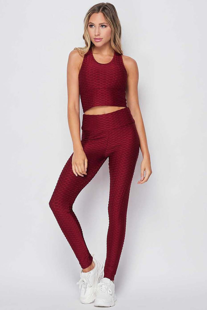 Front side view of Burgundy 2 Piece Scrunch Butt Leggings and Crop Top Set