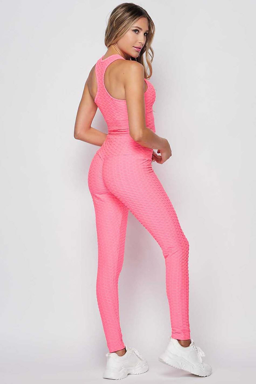 Back right side view of Neon Pink 2 Piece Scrunch Butt Leggings and Crop Top Set