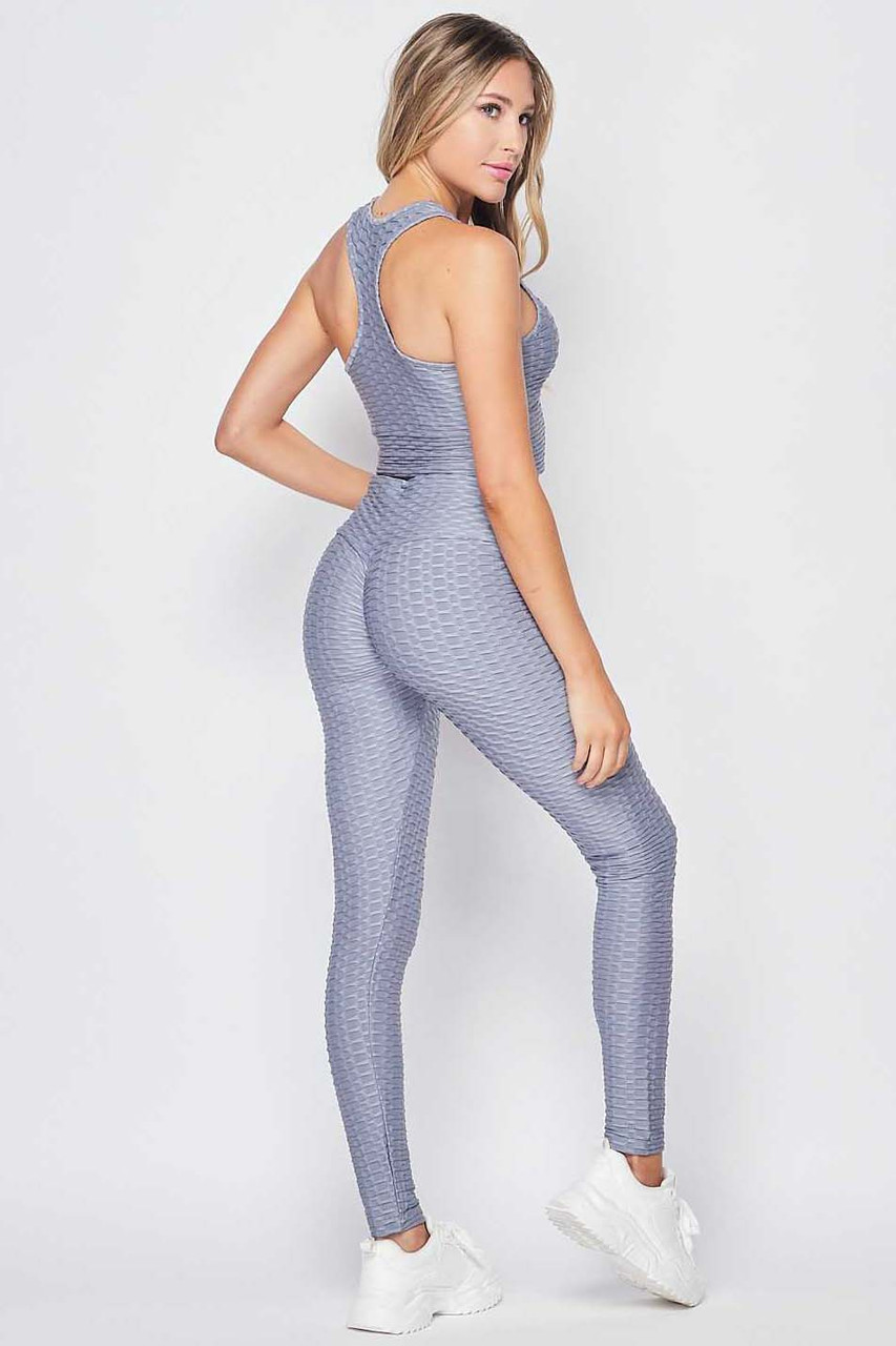 Back right side view of  Light Grey 2 Piece Scrunch Butt Leggings and Crop Top Set