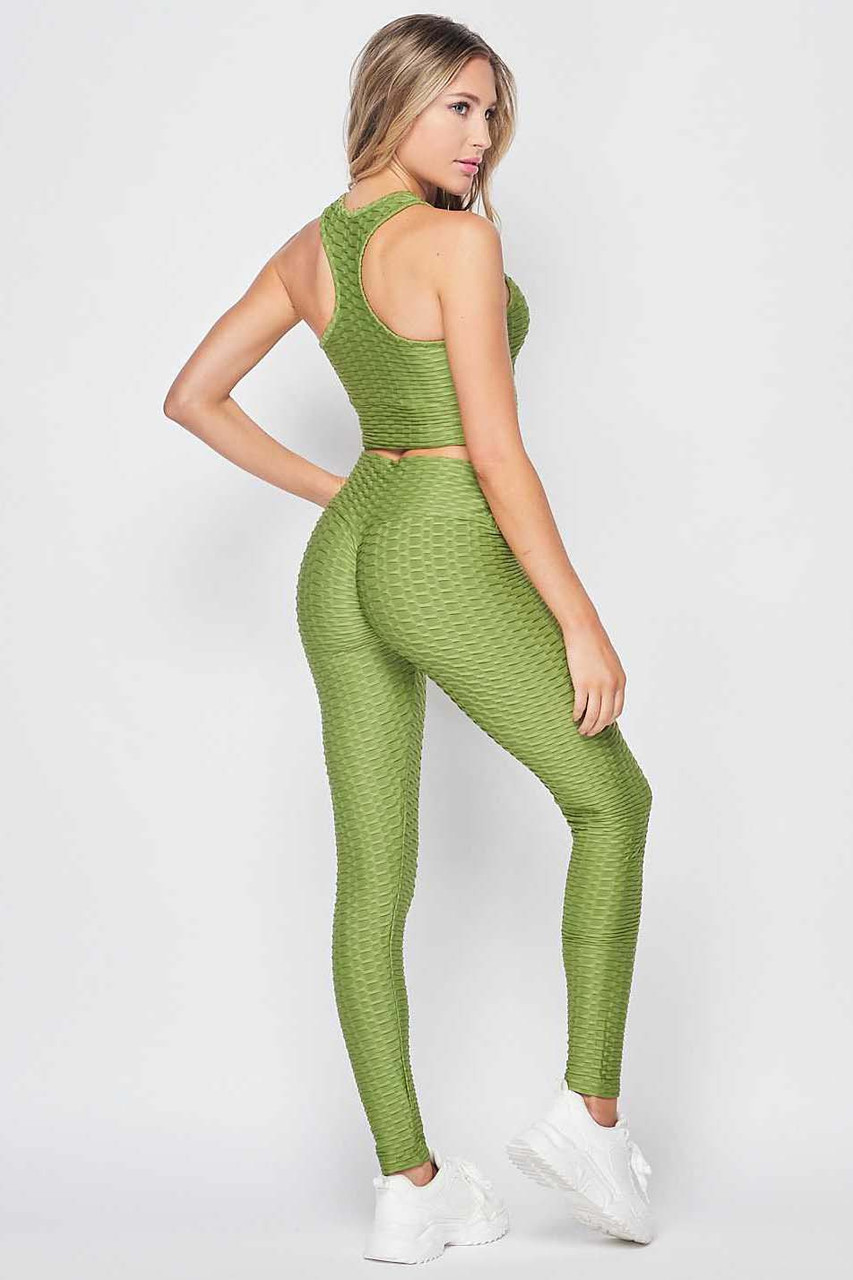 Back right side view of Light Olive 2 Piece Scrunch Butt Leggings and Crop Top Set