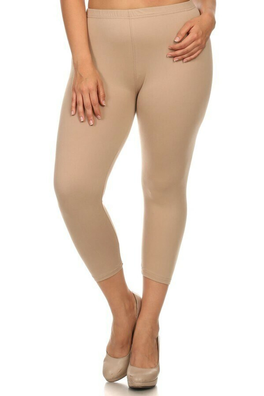 Front side image of beige Buttery Soft Basic Solid Extra Plus Size Capris - 3X-5X - New Mix