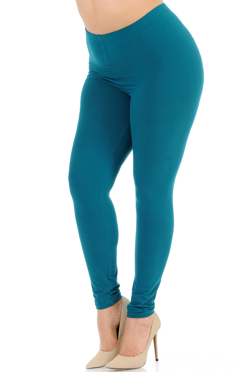 45 degree view of Teal Buttery Soft Basic Solid Extra Plus Size Leggings - 3X-5X - New Mix