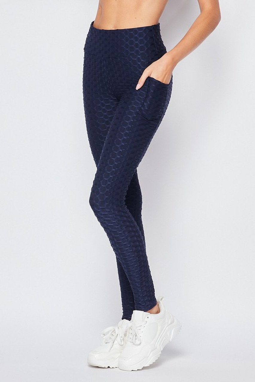 45 degree  view of Navy Popcorn High Waisted Scrunch Butt Leggings with Pockets