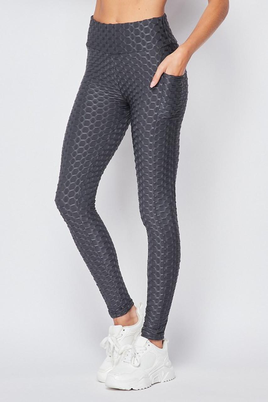 45 degree  view of Charcoal Scrunch Butt Popcorn High Waisted Scrunch Butt Leggings with Pockets