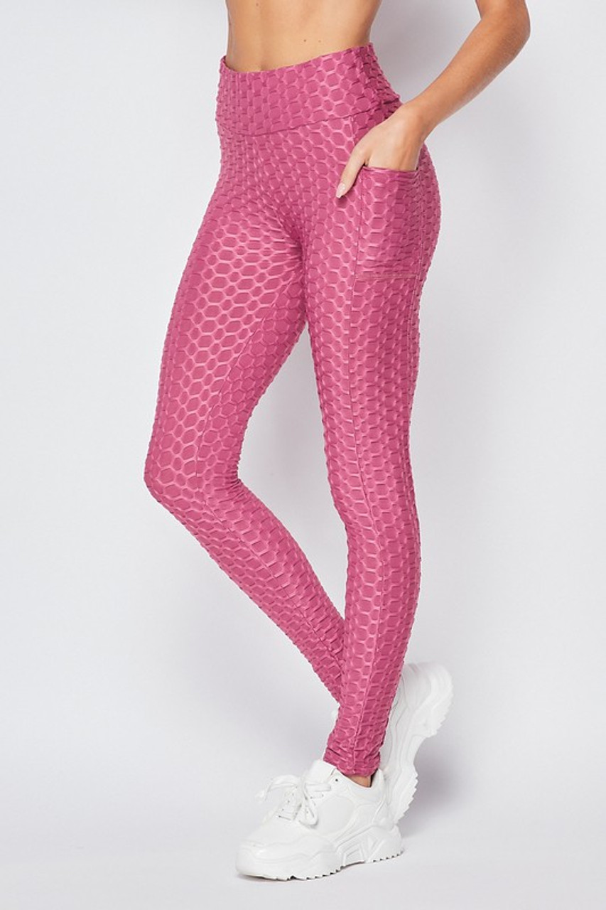 Scrunch Butt Popcorn Textured High Waisted Leggings with Pockets - Zinati (W&J)