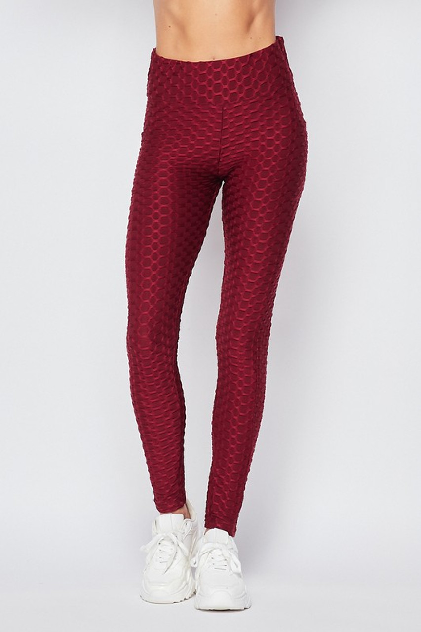 Front side image of Burgundy Scrunch Butt Popcorn Textured High Waisted Leggings with Pockets - Zinati (W&J)