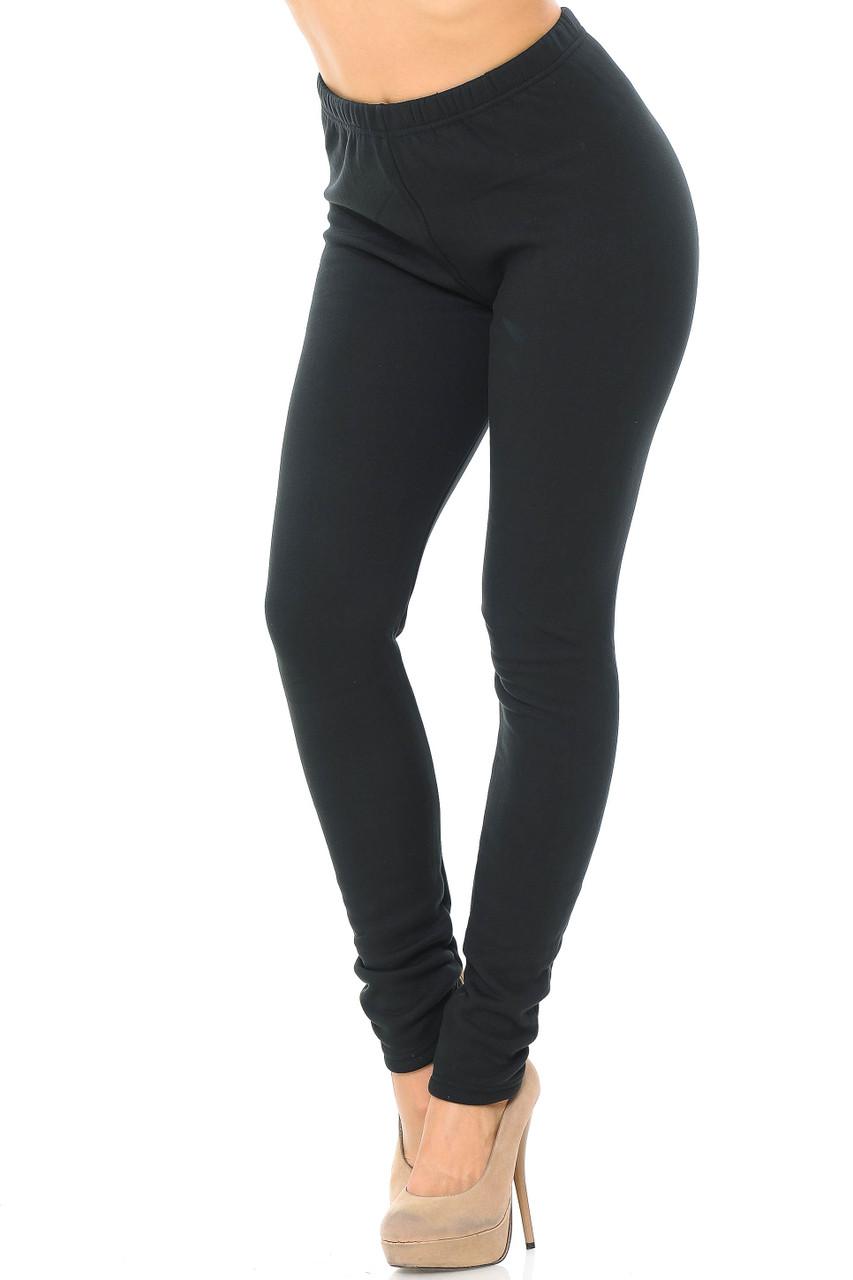 45 degree view of solid black Luxury Creamy Soft Fleece Lined Leggings - USA Fashion™