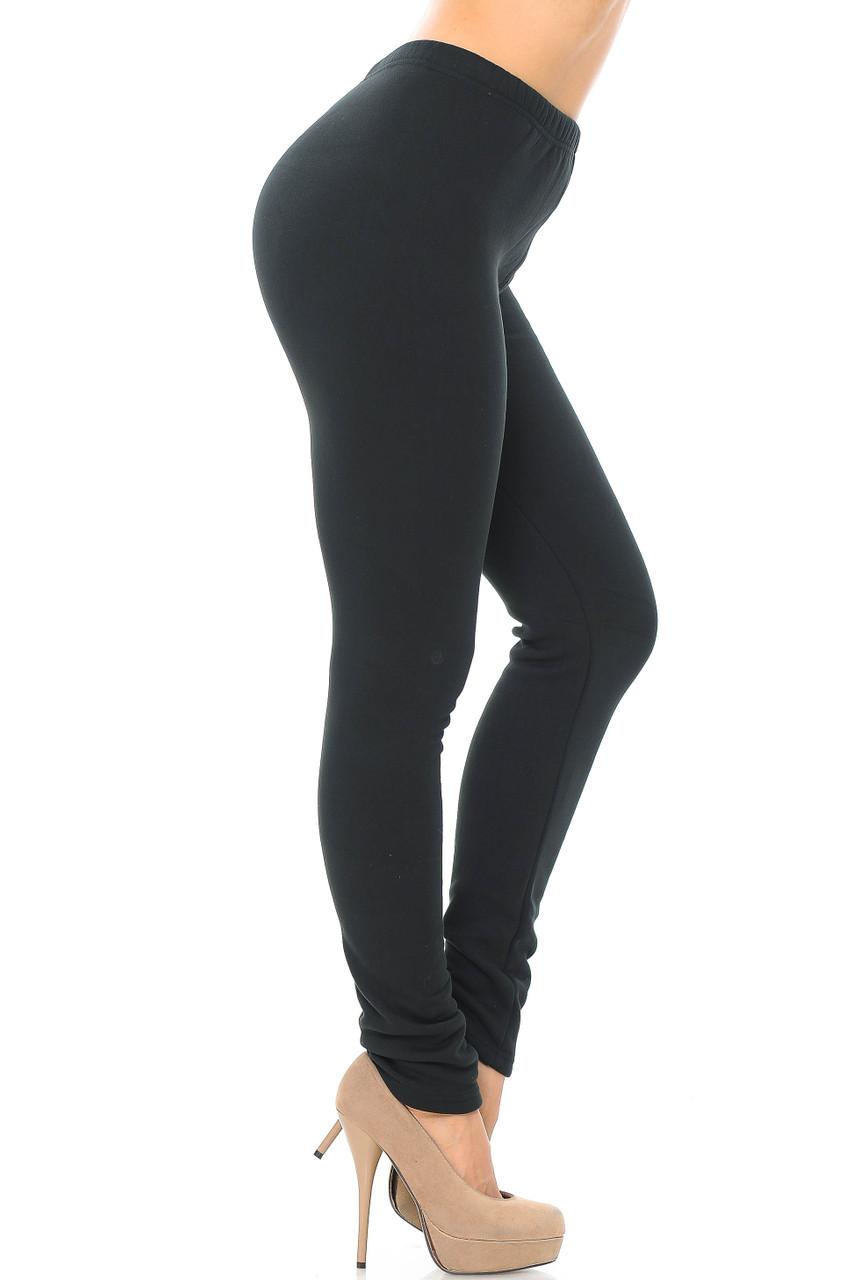 Right side of Luxury Creamy Soft Fleece Lined Leggings - USA Fashion™