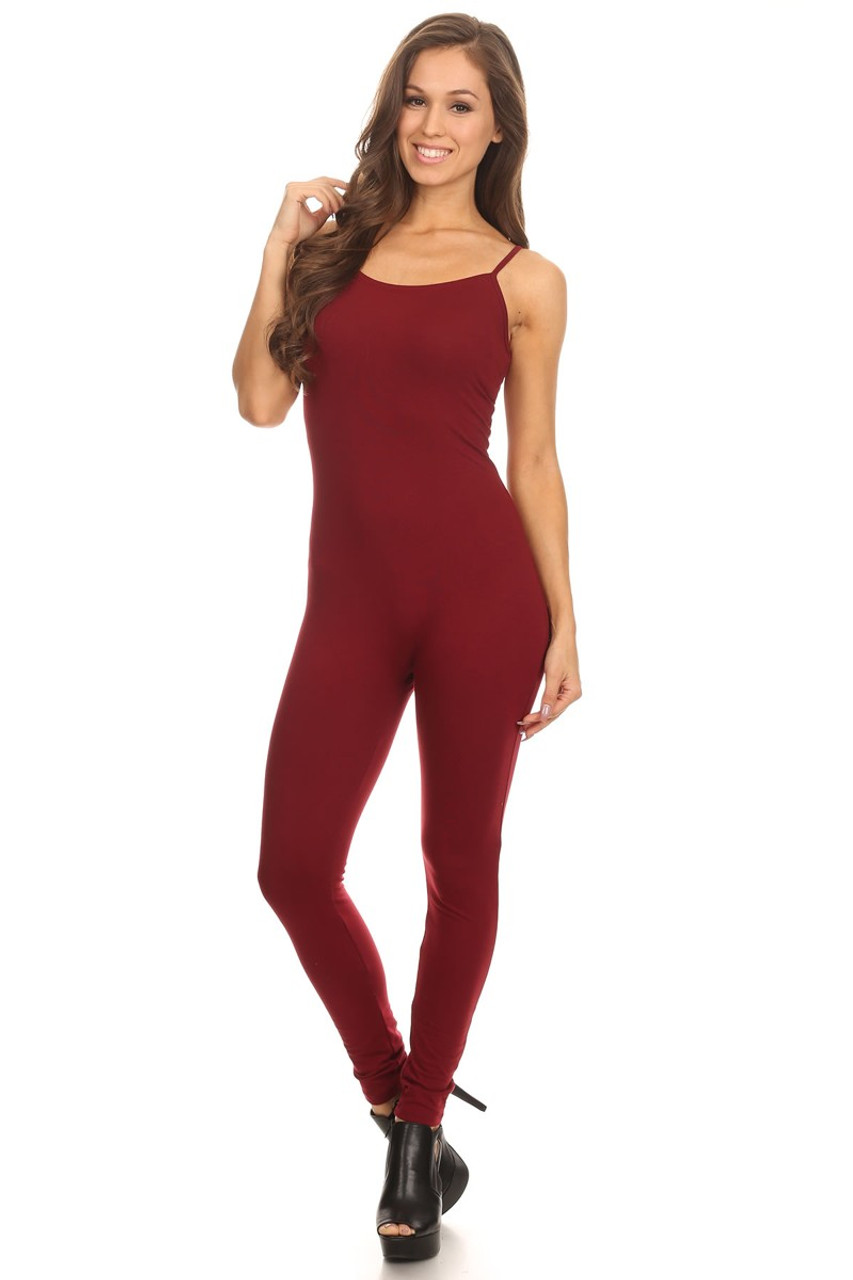 Front side image of USA Basic Cotton Spaghetti Strap Jumpsuit