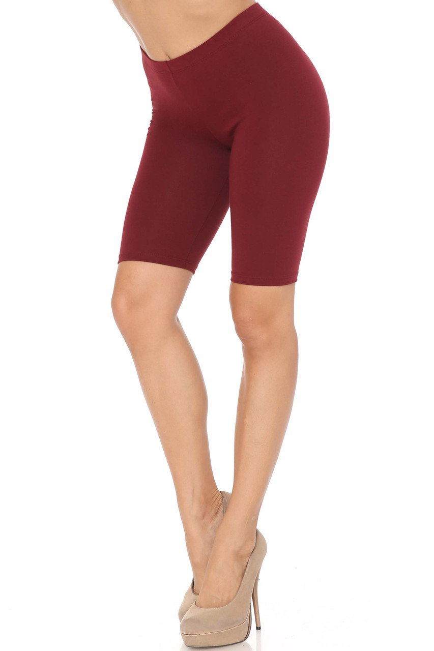Burgundy USA Basic Cotton Bermuda Thigh Shorts