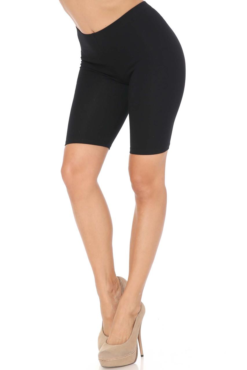 Black USA Basic Cotton Bermuda Thigh Shorts