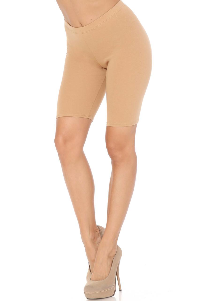 Beige USA Basic Cotton Bermuda Thigh Shorts