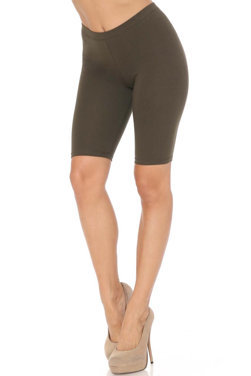 Olive USA Basic Cotton Bermuda Thigh Shorts