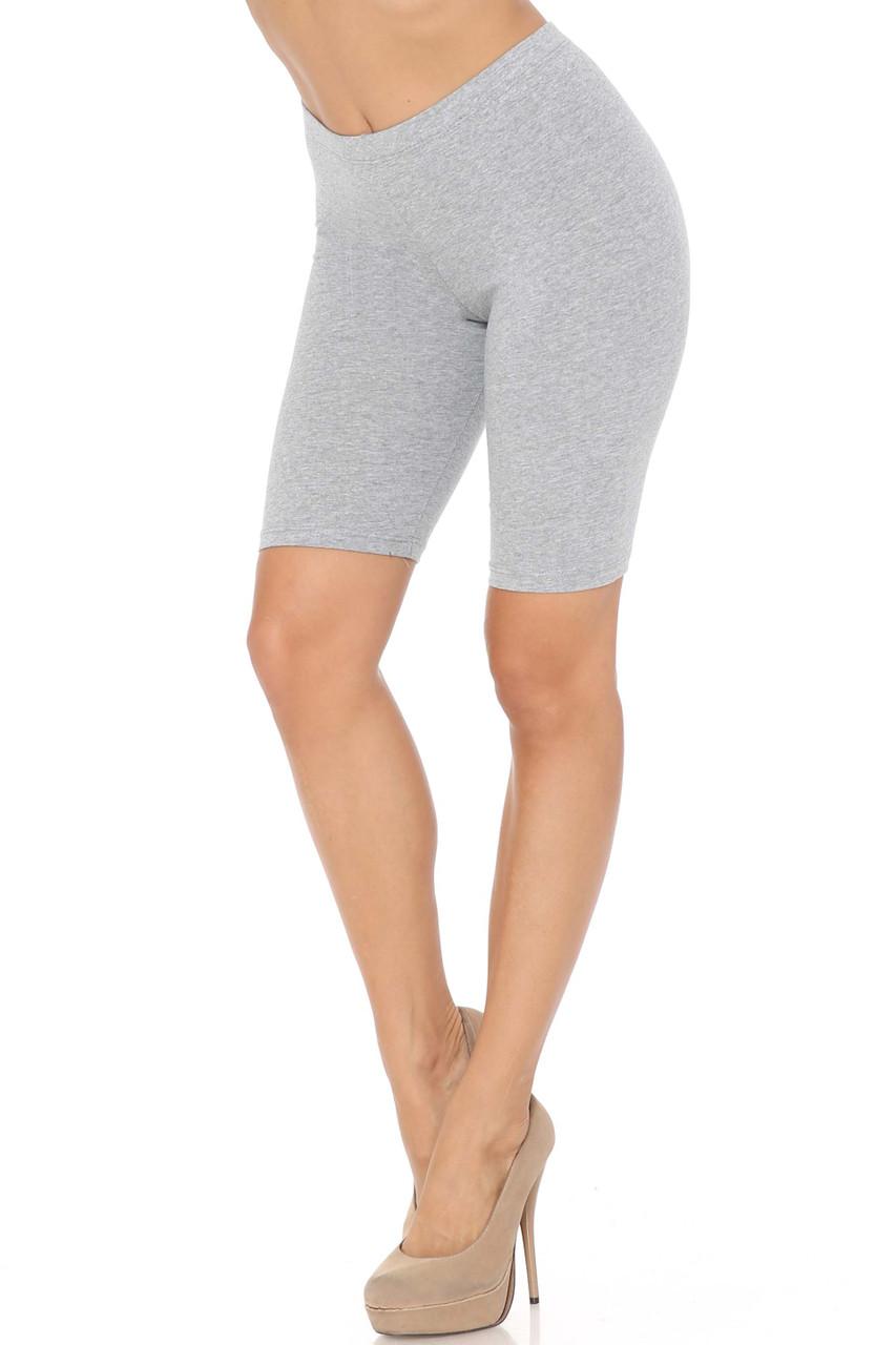 Heather Grey USA Basic Cotton Bermuda Thigh Shorts