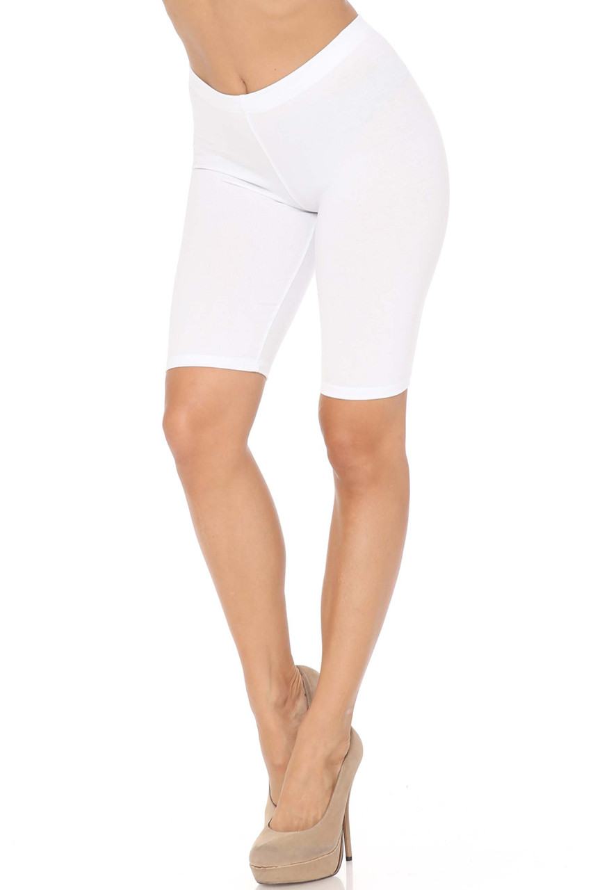 White USA Basic Cotton Bermuda Thigh Shorts