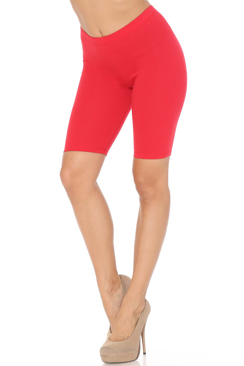 Red USA Basic Cotton Bermuda Thigh Shorts