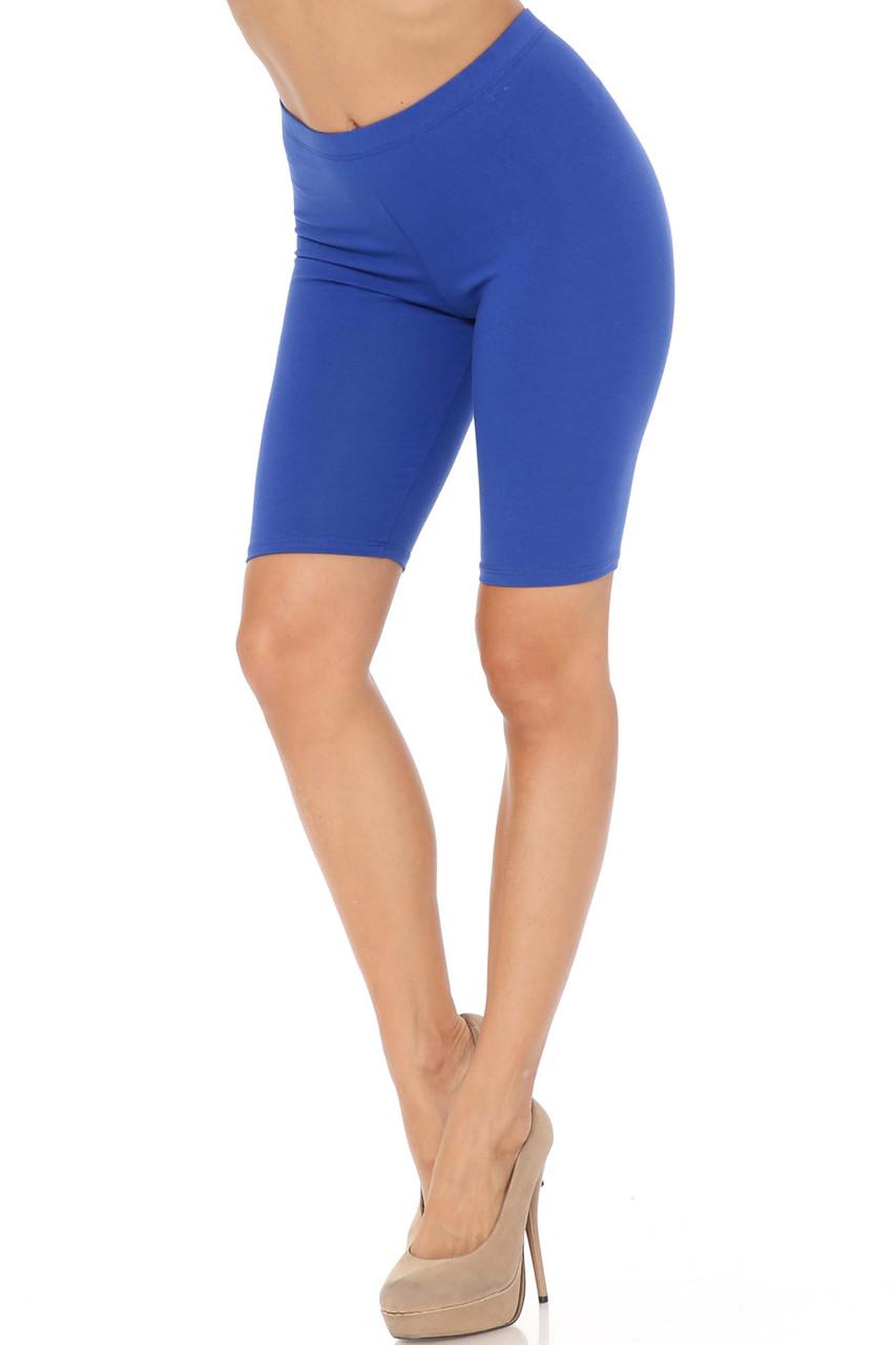 Blue USA Basic Cotton Bermuda Thigh Shorts