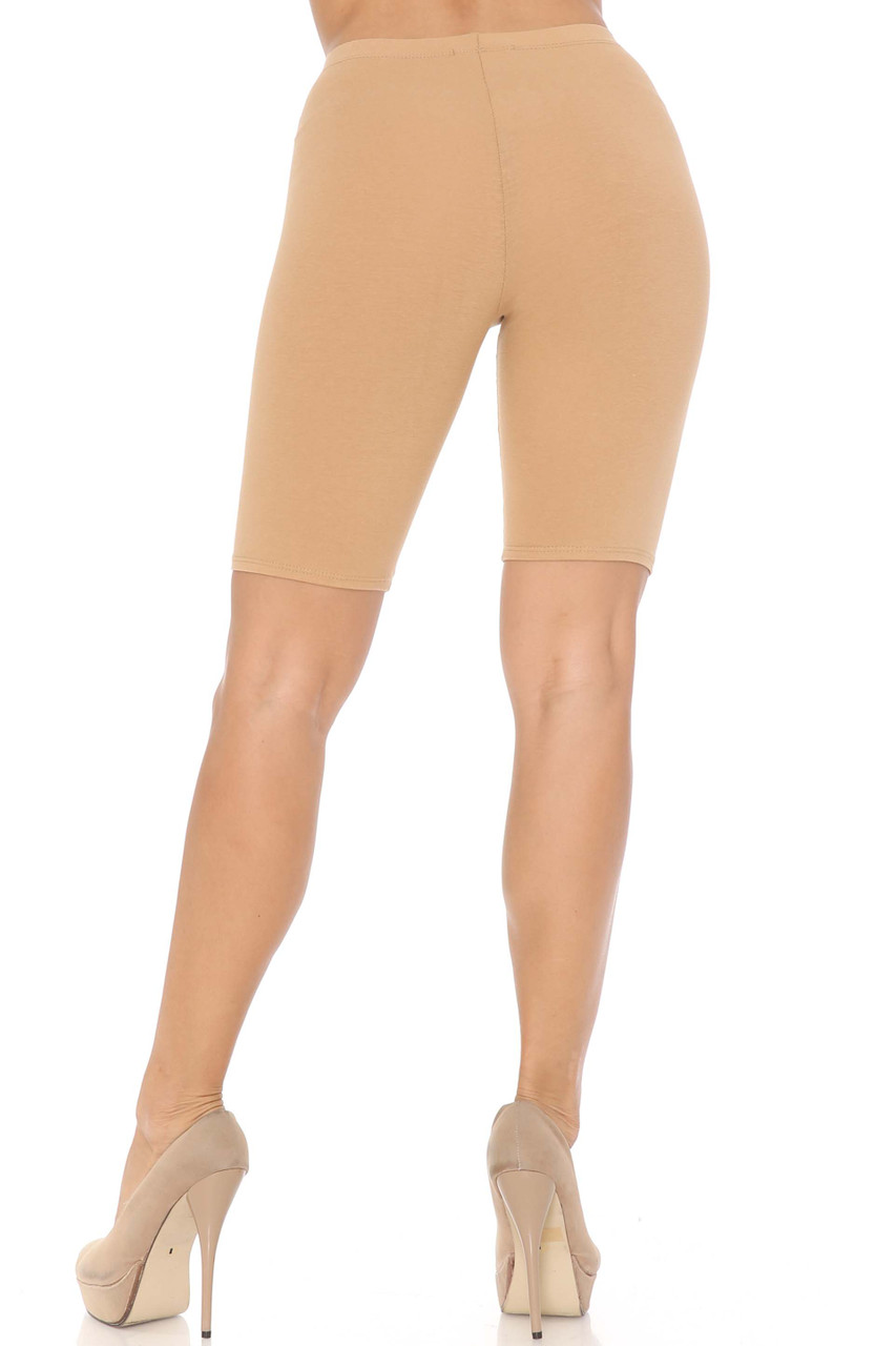 Rear Beige USA Basic Cotton Bermuda Thigh Shorts