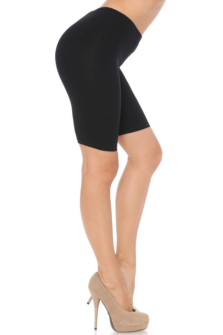 Right Side Black USA Basic Cotton Bermuda Thigh Shorts