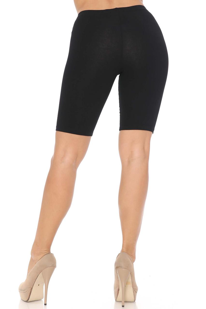 Rear Black USA Basic Cotton Bermuda Thigh Shorts