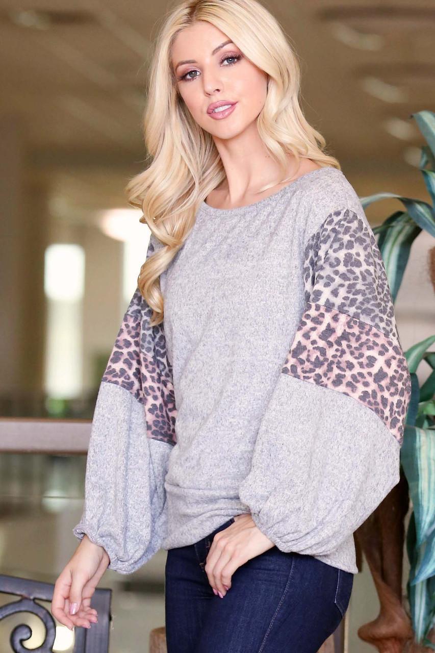 Heather Gray Leopard Contrast Balloon Sleeve Plus Size Top