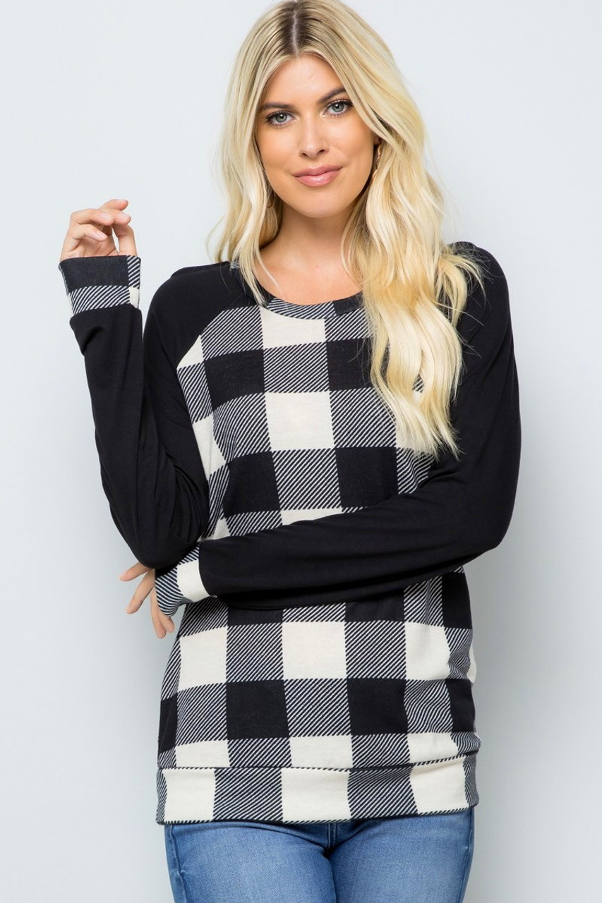 Buffalo Plaid Contrast Solid Long Sleeve Top - Plus Size
