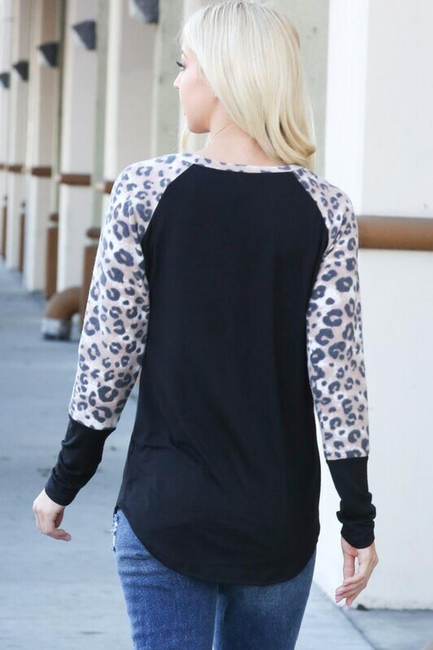 Leopard Contrast Long Sleeve Rayon Plus Size Top