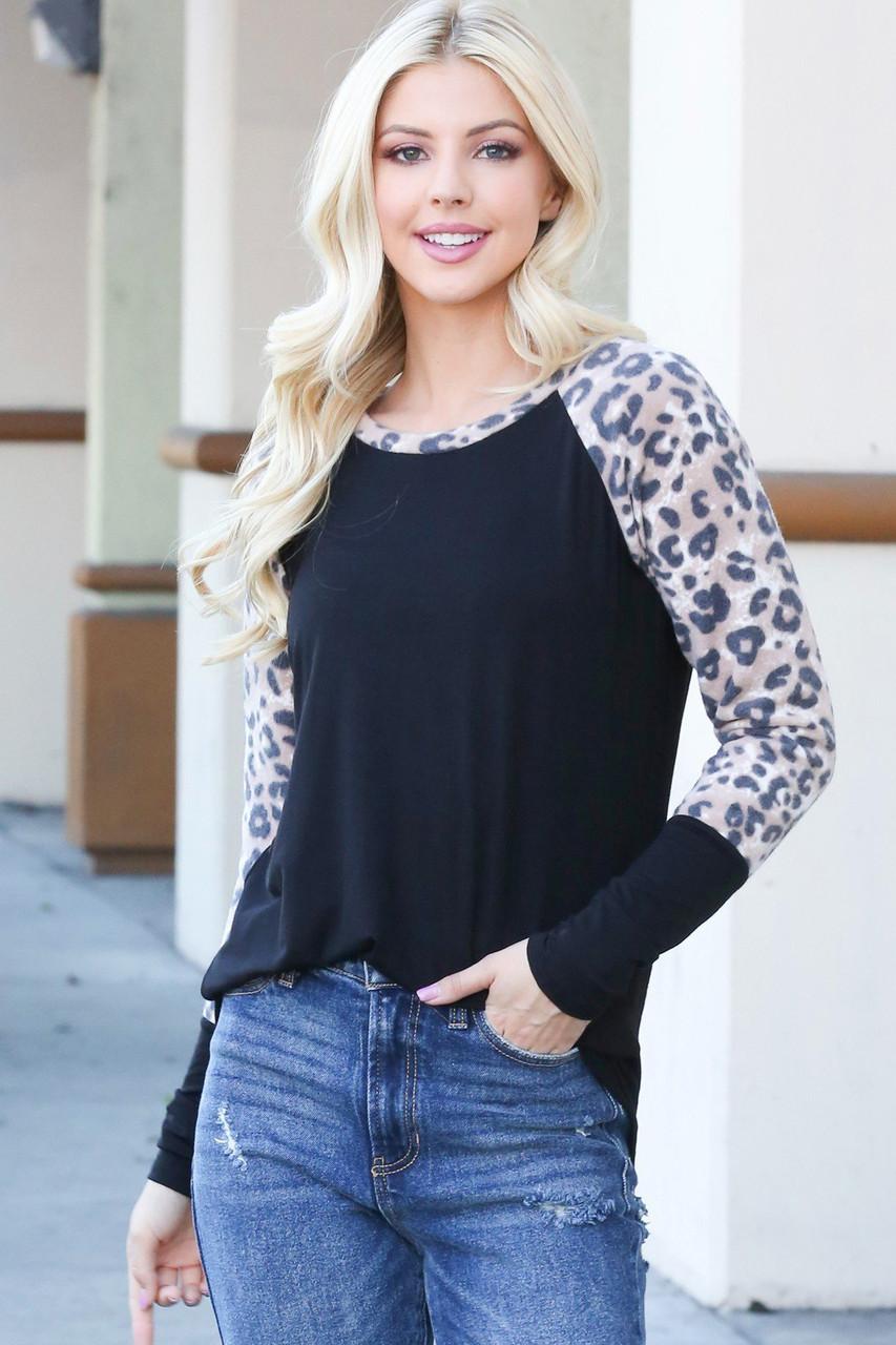 Leopard Contrast Long Sleeve Rayon Top - Plus Size