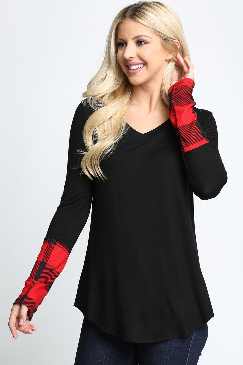 Plaid Cuff Solid Contrast V Neck Long Sleeve Top