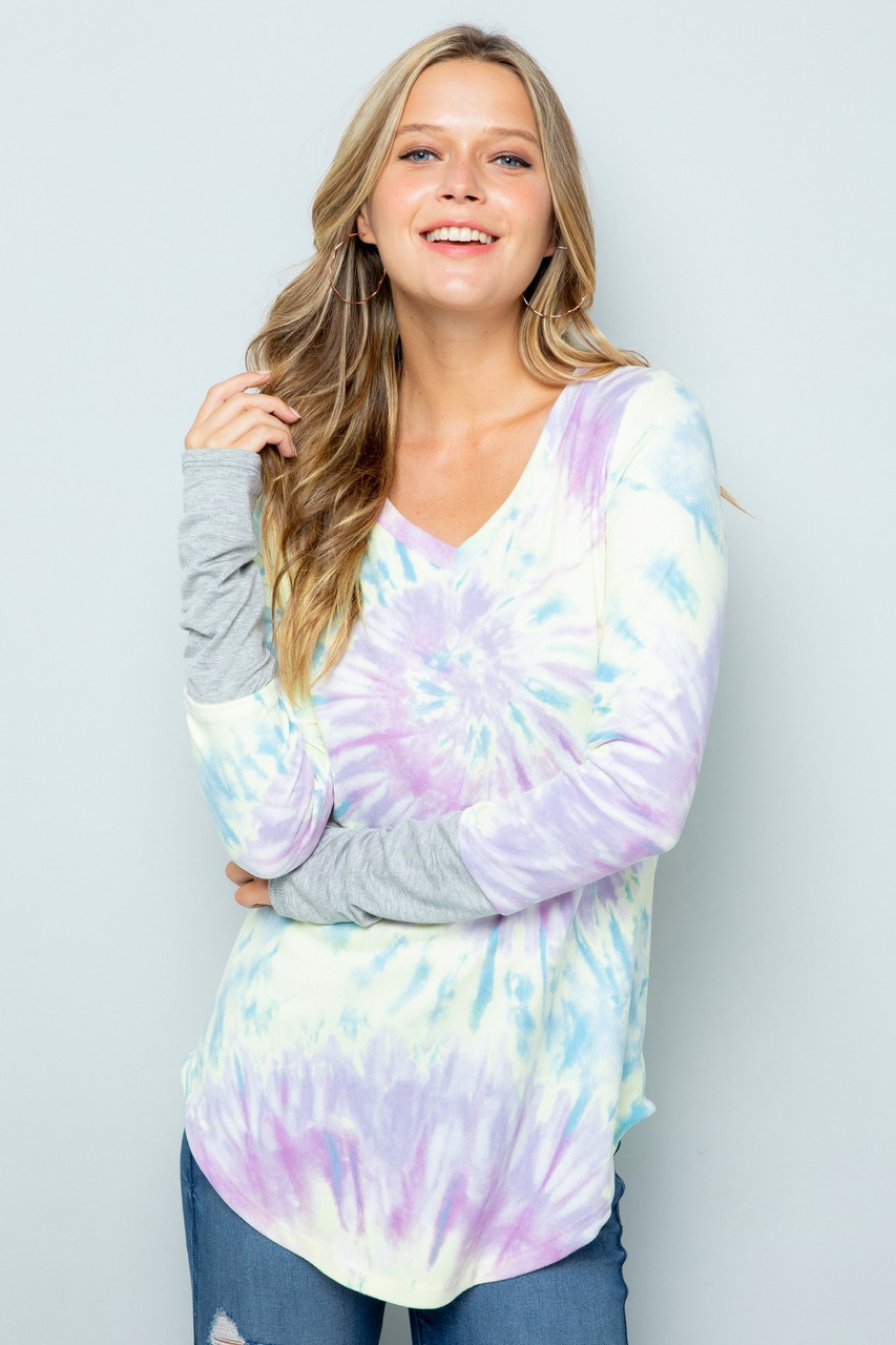 Lilac Tie Dye Contrast Cuff Long Sleeve V Neck Top