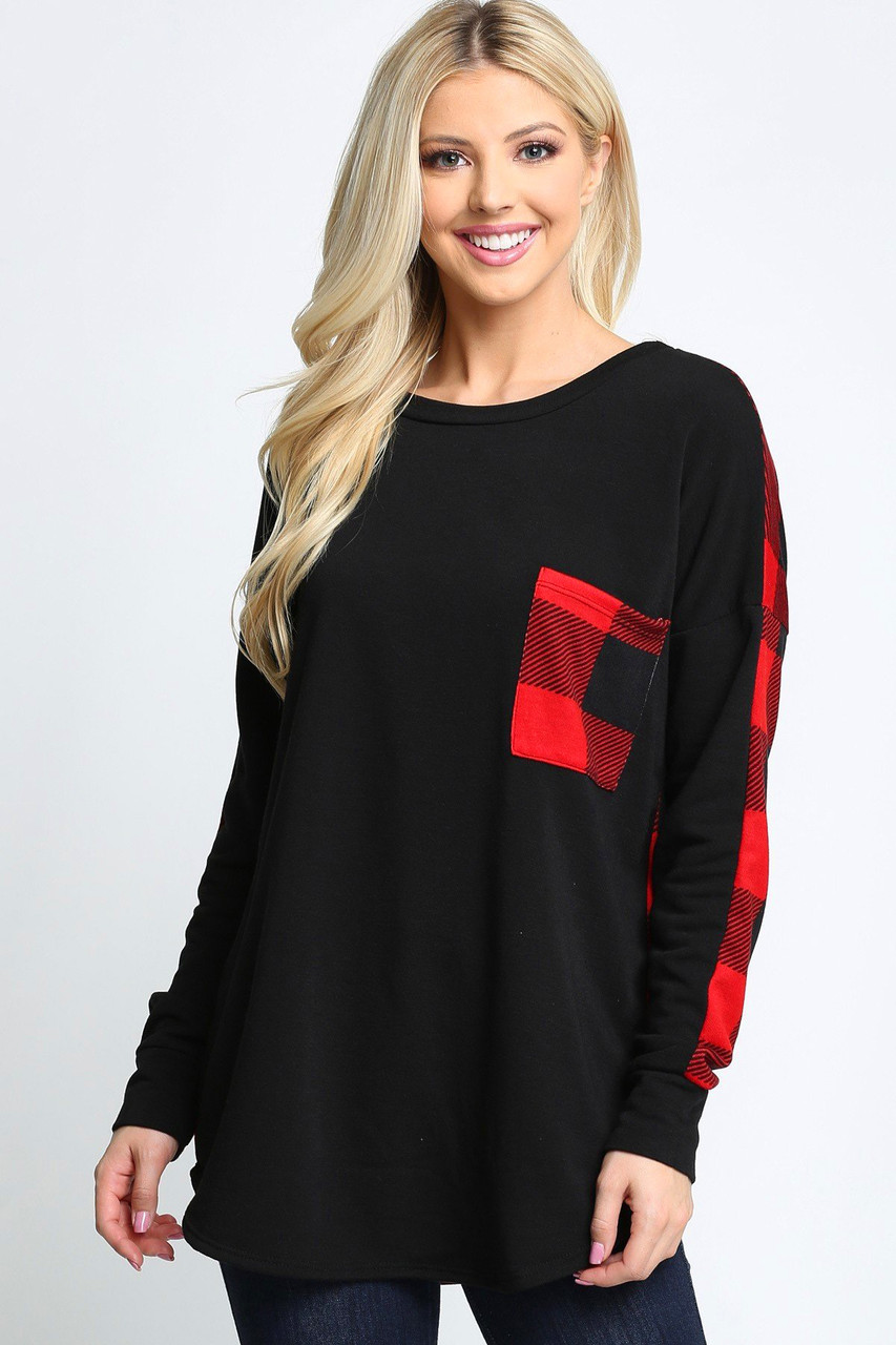 Plaid Contrast Long Sleeve Top - Plus Size with Front Pocket