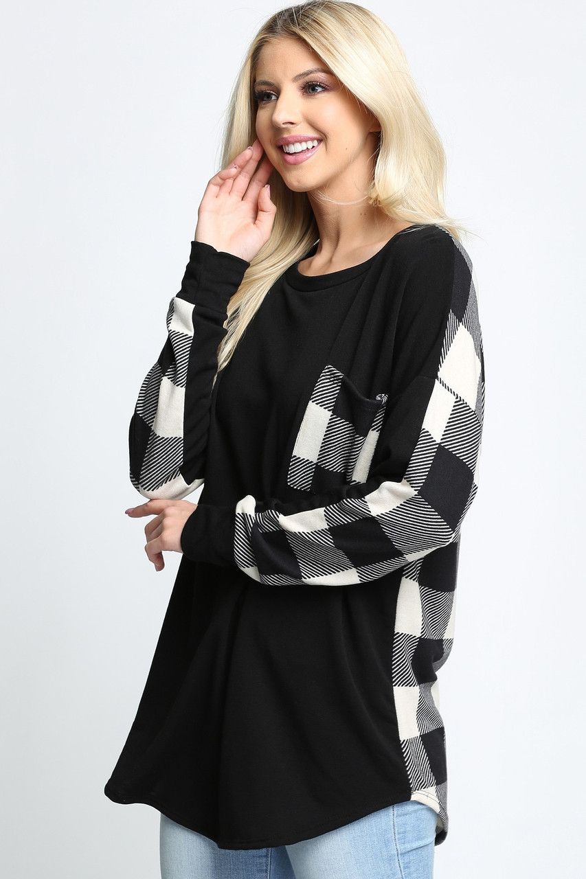Plaid Contrast Long Sleeve Top with Front Pocket