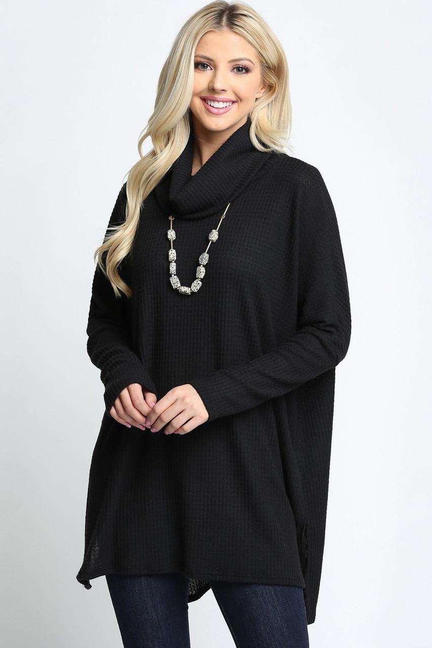 Black Waffle Knit Cowl Neck Dolman Sleeve Plus Size Top