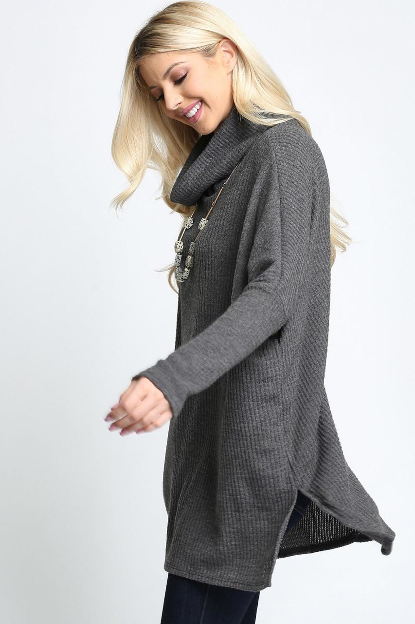 Waffle Knit Cowl Neck Dolman Sleeve Top - Plus Size