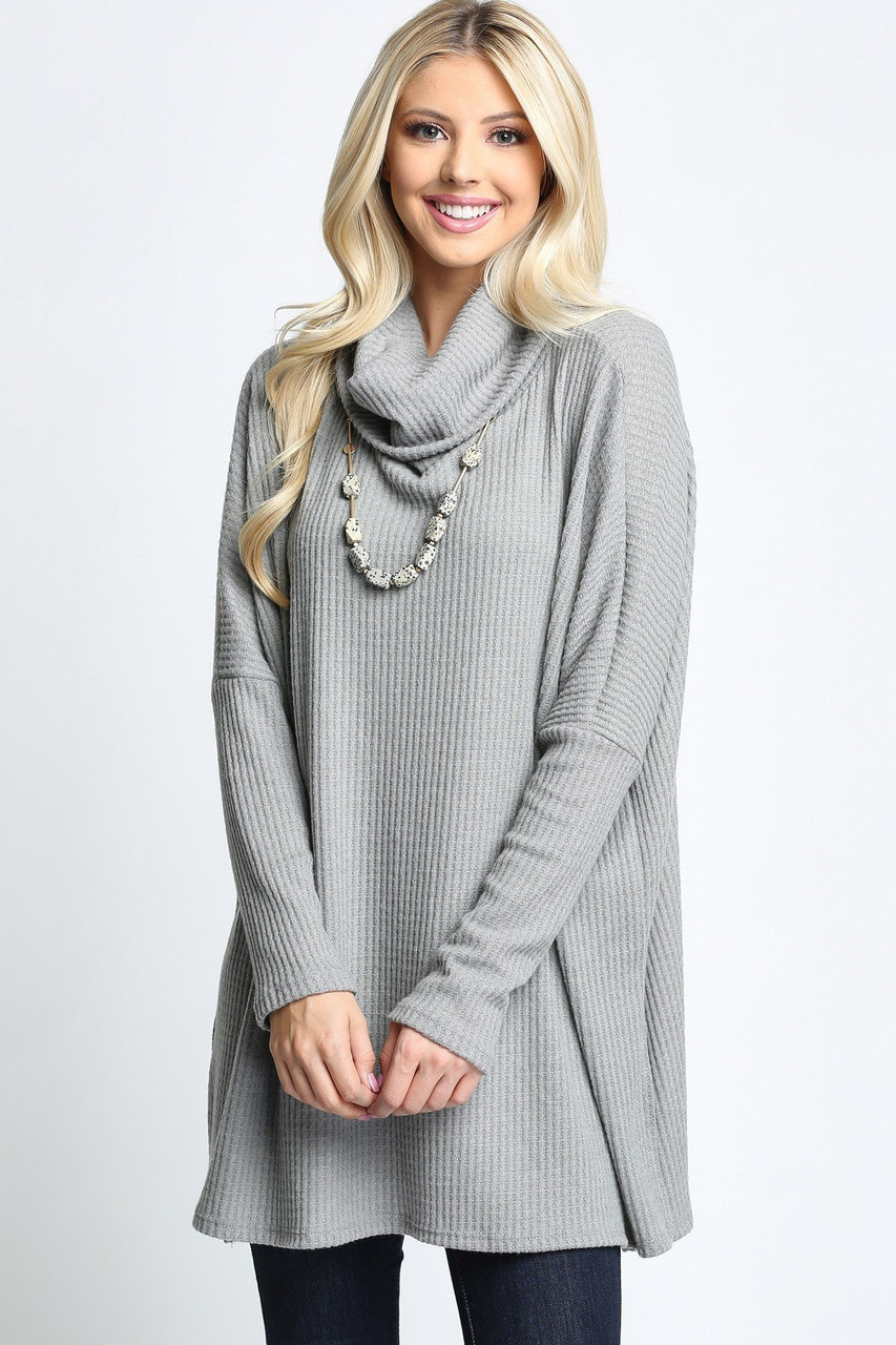 Heather Grey Waffle Knit Cowl Neck Dolman Sleeve Plus Size Top