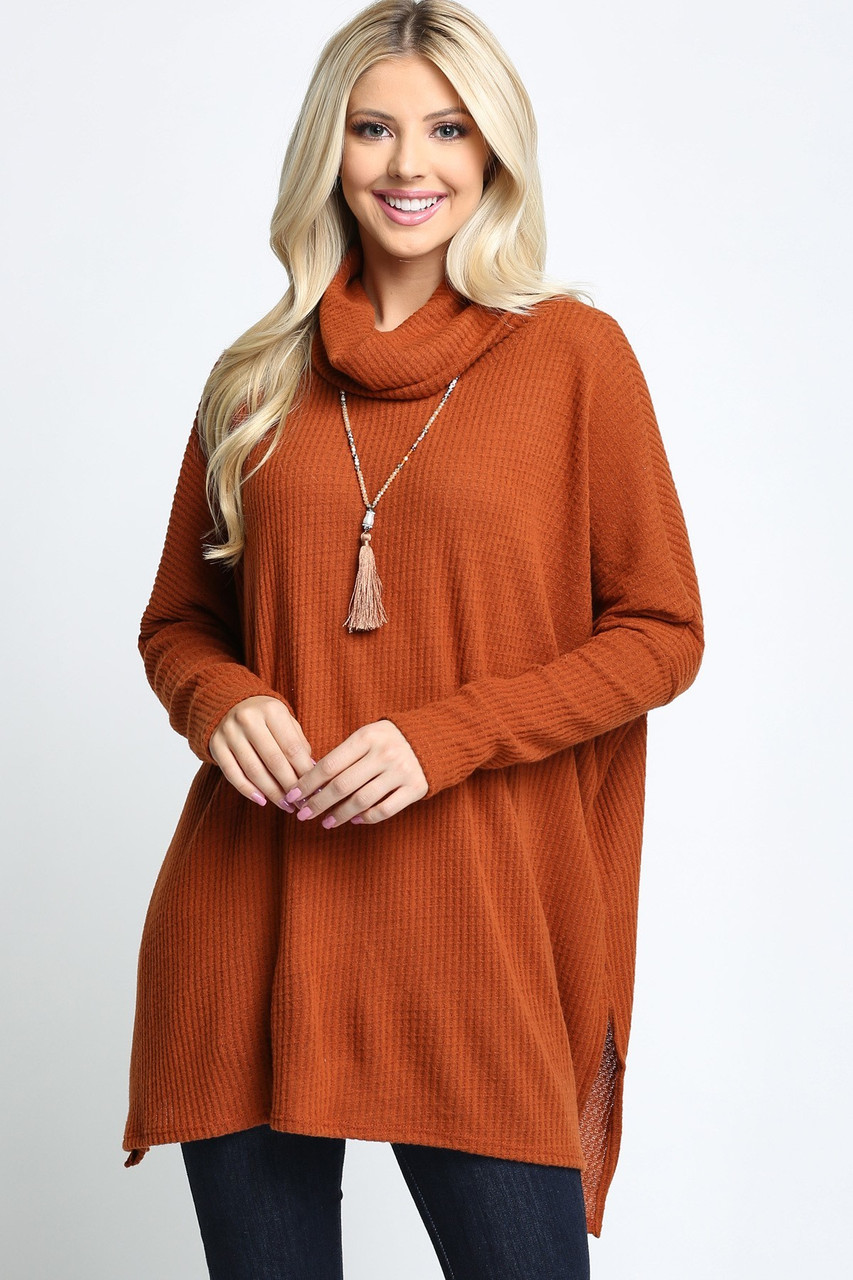 Rust Waffle Knit Cowl Neck Dolman Sleeve Plus Size Top